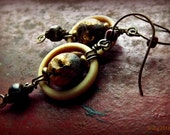 Funky wire and bone earrings with Tibetan beads