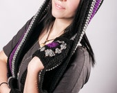 Hooded Scarf with Pockets, Scoodie, Black and Grey with Your Choice of Accent, Made to Order, Custom