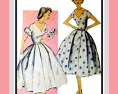 Vintage 1950s- Lovely Party Dress- Sewing Pattern -Three Styles -Puff -& Plain Sleeves -Full Soft Pleat Skirt -Deep V Neckline- Size 17 Rare