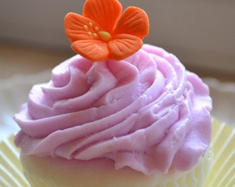 Cupcake Soap - Hibiscus Bloom Cupcake Soap - Flower - Spring - Easter - Novelty Soap - Bridal Shower - Party Favors - Realistic Fake Food