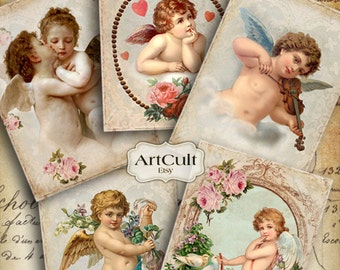 VINTAGE ANGELS - Digital Collage Sheet Printable 2.5x3.5 inch size Gift Tags Greeting Cards ephemera scrapbook