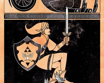 Hero of Might - inspired illustration legend of zelda link  versus monster