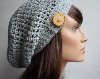 Crochet Slouchy Beanie Hat - Handmade Pale Grey Hat - Button Tab Slouchy Hat Winter Accessories Hemp Wool made to order