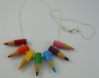 Colored Pencil Necklace, Jewelry, Upcycled, Beaded, Teacher, Recycled, Gift, Pencil Tips, Bold,  Multi Color, Rainbow