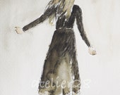 freedom: print of an ink and watercolor painting of a woman walking freely wearing a black dress 8 x 10