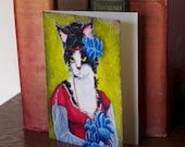 Regency Cat Greeting Card, Black and White Cat with Flowers, CLEARANCE Card