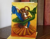 Belly Dancing Cat Art Greeting Card CLEARANCE Print