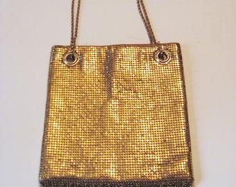 1960s Whiting Davis Gold Mesh Fringed Mod Disco Nightclub Purse Handbag