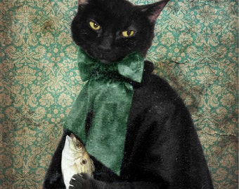 Rococo Cat Black Cat Print Animal Photography Gifts for Veterinarians Pet Portrait Green Animal Art Cat Lovers Print - Lady Jigger