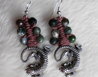 lizard hemp earrings