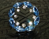 Vintage Crystal Brooch, Blue Crystal Pin, 1940s - Gatsby from CircesHouse on Etsy