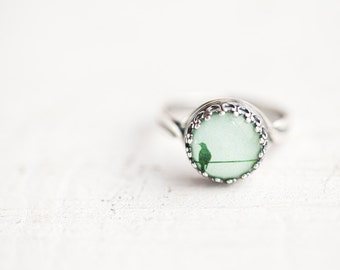 Bird ring - Mint ring - Dainty ring - Pastel ring - Spring jewelry - Tiny jewelry - Adjustable ring (R040)