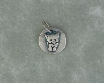 Cat kitten fine silver tiny pendant charm DTPD PMC