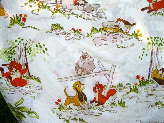 Rare Vintage Disney Fox And The Hound Twin Bedding Set 3