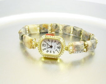 Beaded Stretchy Bracelet Watch - Petite Crazy Lace Agate