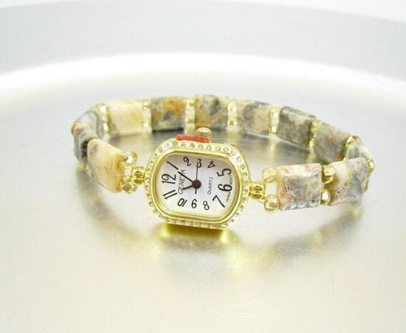 Beaded Stretchy Bracelet Watch - Petite Crazy Lace Agate
