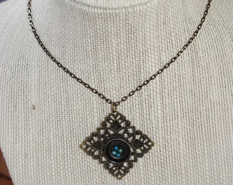 Vintage Button Pendant on Brass Filigree