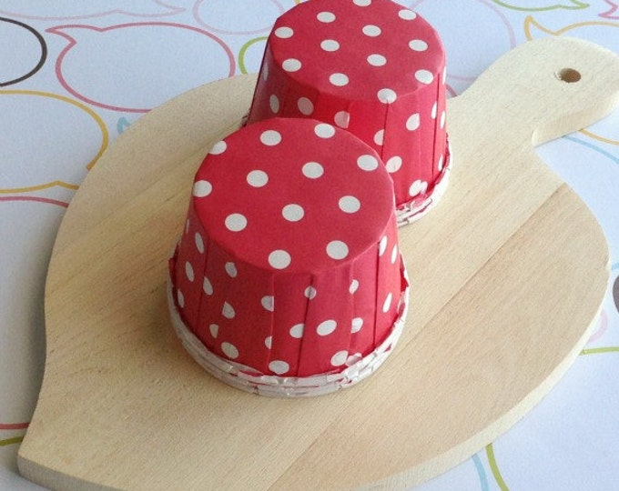 50 Polka Dots Red Baking Cups