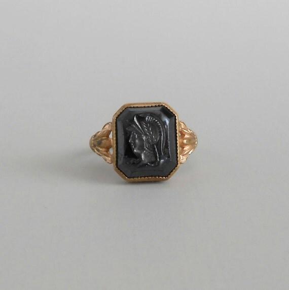 vintage intaglio ring hematite soldier revival