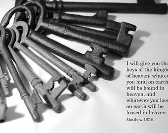 Matthew 16.19 - Inspirational Christian Art Photo with Bible Verse - 10x8 - keys, black and white, scripture, text, Heaven, Kingdom