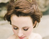Alina (lrg) Gold tiara comb with pearls, crystals and beading