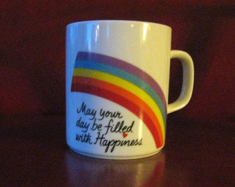 Vintage 'Filled with Happiness' Rainbow Coffee Mug - Avon, 1980's