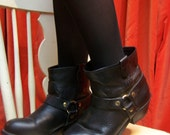 Black Engineer Boots size 8 Harness boot black ankle boot