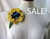 SALE - Brooch - Recycled Wool Sweater -  Yellow and Blue Poppy Flower - by FeltSassy