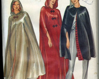 Vintage 80s Butterick 3361 UNCUT Misses Cape in Three Lengths with Optional Hood Sewing Pattern Size Large Bust 38-40