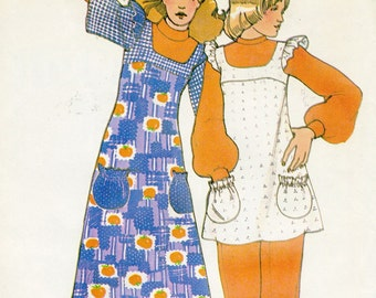 Vintage 70s Simplicity 3376 Misses Shoulder Ruffle Maxi Dress or Pinafore Tunic Sewing Pattern Size 12 Bust 34