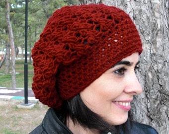 Slouchy Hat  Burgundy beanie Crochet Hat  Crochet Beanie Hat   Womens  hat  Gift for her Wife Girlfriend Winter Accessories  Miley Hat