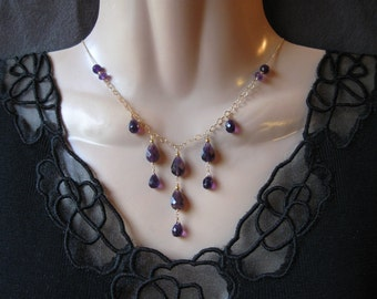 Amethyst Bib Necklace- Gold Filled or Silver
