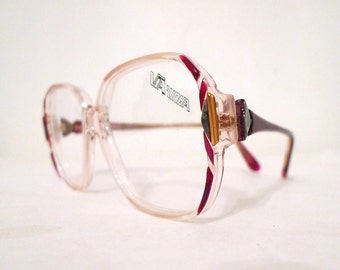 Vintage Crystal Clear Glasses Eyewear Disco Oversized Glam Rock Eyeglass Frames Sunglasses, NOS Le Star  Women / Men. sale
