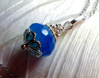 I Feel Pretty - blue chaledony necklace / blue drop pendant / chalcedony necklace / blue pendant / sterling silver / bright blue necklace