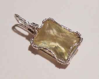 Lemon Quartz sterling silver wire wrapped pendant