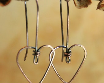 Heart Earrings - Sweetheart Special - Tiny Wire Heart Earrings in Copper or Sterling Silver - Your choice Copper Jewelry