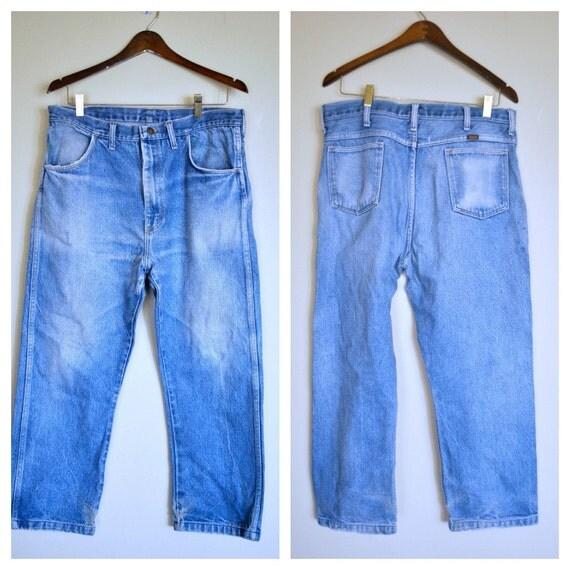 1970s Boyfriend Jeans/  Faded Straight Leg Denim by Rustler/ Size Medium Petite