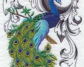 Peacock Flourish Embroidered Terry Kitchen Towel Bathroom Hand Towel