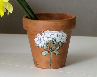 Herb Pot Painted Clay Nature Woodland Botanical Garden Gift