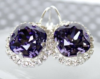 Vibrant Tanzanite Swarovski Crystals Framed with Pave' Crystals on Silver Leverback Earrings