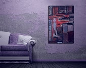 "Purple Painting Mad Men Era 36"" x 24"" Abstract Urban Art Wall Decor Mid Century Modern Raw Art Rainy Night in Soho Painting by Will Wieber"