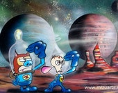 Space Madness - Surreal Cartoon Print by Mizu