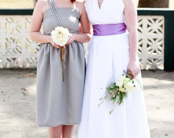 Silver One Shoulder Bridesmaid Dress, Party or Prom Dress, grey strapless bridesmaid dress, modest dress - custom made in any color