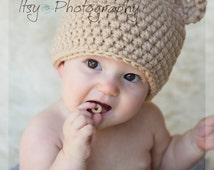 ON SALE Baby Bear Hat, Crochet Baby Bear Hat, Chunky Bear Hat