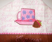 Crochet Top Kitchen Towel, Espresso with Chocolate Covered Strawberry