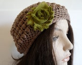 Crochet Eco Friendly Beanie in Brown, Organic Slouchy Hat
