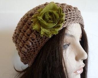Crochet Eco Friendly Beanie in Brown, Organic Slouchy Hat