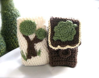 Little Woodland phone cover, cotton crocheted iPhone case, choose design