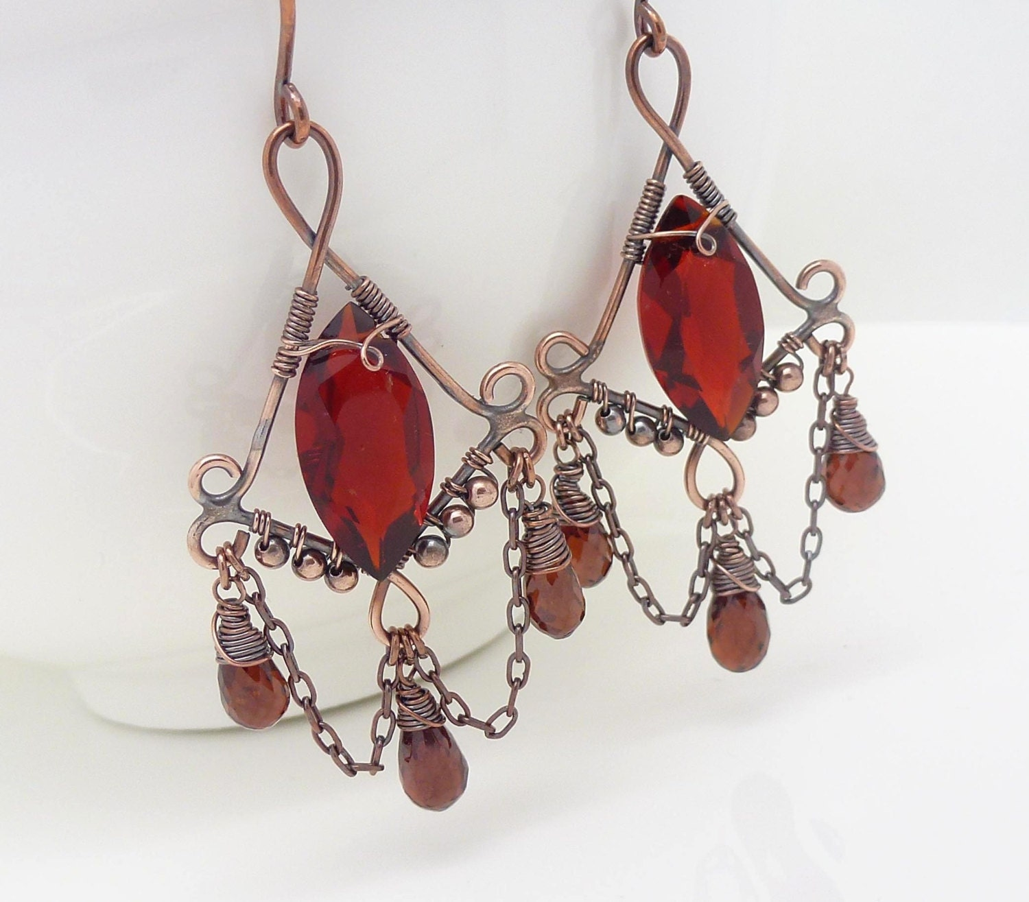 Red Givenchy Chandelier Earrings: Red Garnet Earrings Dark Red Chandelier Earrings Copper Wire