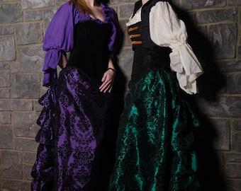Black Velvet Accented Taffeta Bustle Skirt, Romantic, Victorian, Steampunk-- PLEASE MESSAGE BEFORE ordering